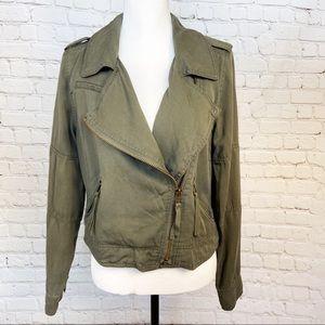 Kenzie army green moto lyocell jacket